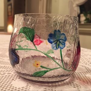 Rare Yankee candle Cracked Glass Candle Holder